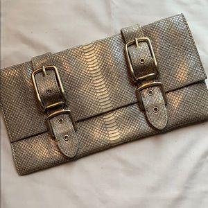 Foley + Corinna faux snakeskin clutch
